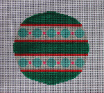 """RO-005 Teal and Pink with Circles Little Bird Designs 3.5"""" Round 18 mesh"""