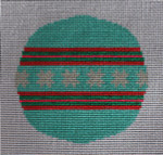 """RO-004 Teal and Pink with Stars in Center Little Bird Designs 3.5"""" Round 18 mesh"""