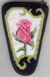 APSZ920 Pink Roses on Black scissor Alice Peterson Stitch And Zip