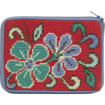 APSZ202 CREDIT CARD & COIN PURSE Alice Peterson Stitch And Zip Red Asian Floral