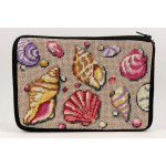 APSZ567 Shells Alice Peterson Stitch And Zip NEEDLEPOINT PURSE
