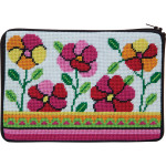 APSZ600 Pink and Orange Poppies Alice Peterson Stitch And Zip NEEDLEPOINT PURSE