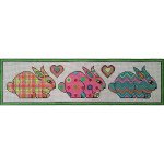 AP3631 Patterned Bunnies Alice Peterson Design 13 Mesh Size 20.5 x 5.5