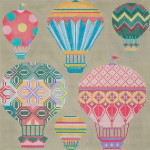 AP2589 Pastel Balloons In Flight  Alice Peterson 13 Mesh  10 x 10 !
