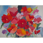 AP1708 Large Watercolor Poppies Alice Peterson 13 Mesh 30 X 23 !