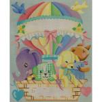 AP3410 Hot Air Balloon Birth Announcement Alice Peterson 10 x 12 13 Mesh