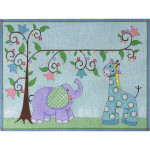 AP3539 Giraffe and Elephant Birth Announcement Alice Peterson 13 Mesh 12 X 9