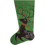 AP2288 Reindeer On Green Christmas Stocking Alice Peterson 13 Mesh 11 x 20 !