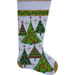 AP2304 Gold Christmas Trees Stocking Alice Peterson 13 Mesh 11 x 20 !
