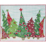 AP2430 Crazy Christmas Trees Alice Peterson 13 Mesh 10 X 8 !