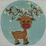 APX199 Reindeer & Lights Ornament Alice Peterson 13 Mesh 4″ ROUND !