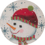 APX180 Snowman Face and Snowflakes  Alice Peterson 13 Mesh 4″ ROUND !