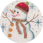 APX179 Snowman and Snowflakes  Alice Peterson 13 Mesh 4″ ROUND !