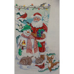 AP1715 Santa and Snowman Stocking Alice Peterson 13 Mesh 13.5 X 22 !