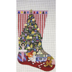 AP1997 Christmas Morning Stocking Alice Peterson 13 Mesh 19 X 11 !