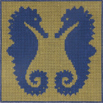 AP2337 Seahorse Blue and Tan Alice Peterson 13 Mesh 6 X 6 !