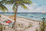 "2137  Serene Beach 18 Mesh - 9"" x 6"" Needle Crossings"