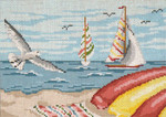 "159 Seagulls & Sailboats 18 Mesh - 7"" x 5"" Needle Crossings"