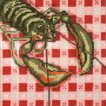"166-13 Lobster on Tablecloth  13 Mesh - 7"" Square Needle Crossings"