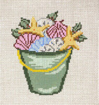 "1763  Bucket of Shells  & Holly 18 Mesh - 3-3/4"" x  4""  Needle Crossings"