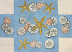 "#2155 Starfish, Shells and Sand Dollars Brick Cover  	 	 	 	 13 Mesh 14"" x 10""  Needle Crossingsn"