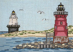 "#1218 Delaware Breakwater  & Isle of Refuge Lights (DE) 18 Mesh - 7"" x 5""  Needle Crossingsn"