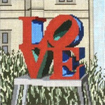 "415 Love Statue 18 Mesh - 6"" Square Needle Crossings"