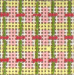 "1717 Mini Pink & Green Pattern 18 Mesh  1-1/4"" Square Needle Crossings"