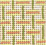 "1718 Mini Peach & Green Pattern 18 Mesh 1-3/4""  Square Needle Crossings"