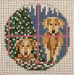 "1770-18 Christmas Labs Ornament 3"" Round 18 Mesh Needle Crossings"