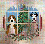 "1773-18 Christmas Pets Ornament 3"" Round 18 Mesh Needle Crossings"