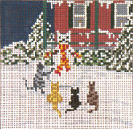 "1703 Snow Cat Party 18 Mesh - 3-3/4"" Square Needle Crossings"