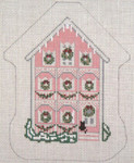 "1791 Pink House Ornament 18 Mesh - 4-3/4"" x 6"" Needle Crossings"