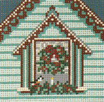 "1748-18 Aqua Window with Wreath Ornament 18 Mesh 4"" Square Needle Crossings"
