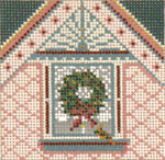 "1749-18 Pink Window with Wreath Ornament 18 Mesh  4"" Square Needle Crossings"