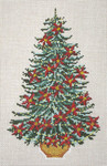 "2892 Poinsettia Garland Christmas Tree 13 Mesh - 8-1/2"" x 12""  Needle Crossings"