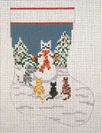 "1753-18 Snow Cat Mini Stocking 18 Mesh  - 4-1/2"" x 6-1/4"" Needle Crossings"