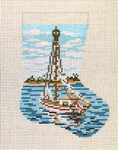 "1761-18 Sailboat Mini Stocking  18 Mesh 4-1/2"" x 6-1/4"" Needle Crossings"