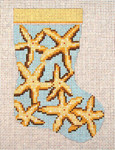 "1752-B Blue Star Fish  Mini Stocking 13 Mesh 4-1/2"" x 6-1/4"" Needle Crossings"
