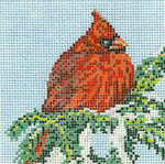 "1758-SP Cardinal Ornament - ROUND 18 Mesh - 4"" Round Needle Crossings"