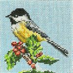 "1757-SP Chickadee Ornament 18 Mesh - 4"" Round Needle Crossings"