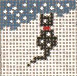 "1710 Mini Snow  Black Cat 1-1/4"" Square on 18 Mesh Needle Crossings"