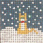 "1706 Mini Snow  Orange Cat 1-1/4"" Square on 18 Mesh Needle Crossings"