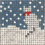 "1709 Mini Snow  Gray Cat 1-1/4"" Square on 18 Mesh Needle Crossings"
