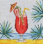 "1905  Strawberry Daiquiri 18 Mesh - 5"" Square Needle Crossings"