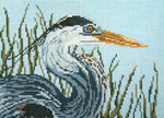 "1601 Great Blue Heron Head 18 Mesh - 7"" x 5""  Needle Crossings"