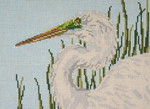"1602 Great Egret Head 18 Mesh - 7"" x 5"" Needle Crossings"