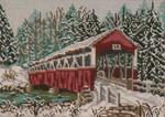 "1001 Barronvale Covered Bridge (PA) WINTER 18 Mesh - 7"" x 5""  Needle Crossings"