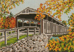 "1004 Perrine Covered Bridge (NY) AUTUMN 18 Mesh - 7"" x 5""  Needle Crossings"
