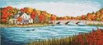 "2401  Autumn Bridge River Scene 13 Mesh - 20"" x 9"" Needle Crossings"